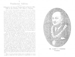Mr Albert F Parsons 1938 address